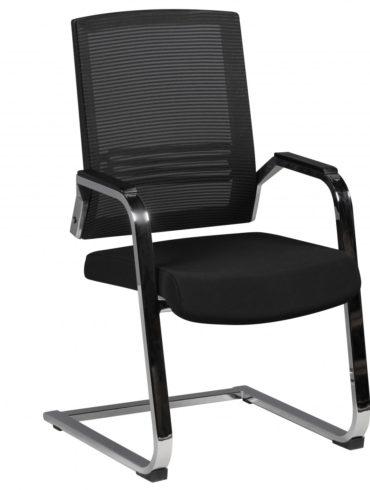 cantilever Chaise APOLLO Réunion A3 Tissu noir Rocking Chair XXL 120kg chrome visiteurs Chaise design 1