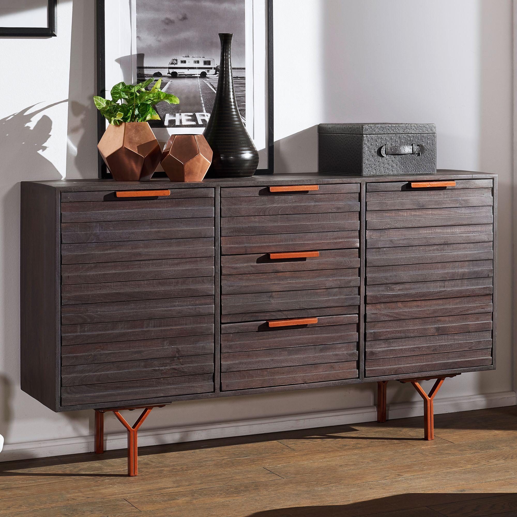 Meuble D Entrée Industriel dewas 160x93x40 cm buffet armoire en acacia en bois massif gris ; commode  de style industriel avec 3 tiroirs et 2 portes ; meuble d'entrée bois