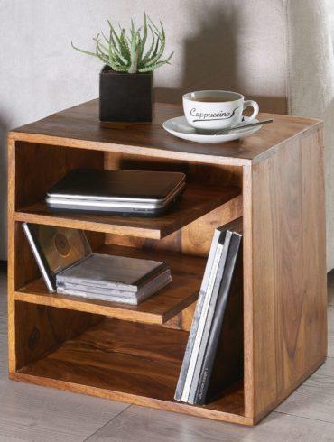 Table SURNAR 43x43x30 de bois Sheesham Design table de chevet ; Petite table basse avec étagères ; Table design en bois massif ; Console de nuit en bois ; Anstellisch moderne 1