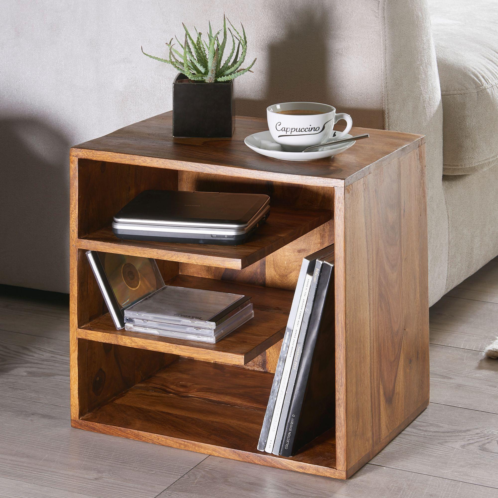 Petite Table De Nuit Bois table surnar 43x43x30 de bois sheesham design table de chevet ; petite  table basse avec étagères ; table design en bois massif ; console de nuit  en