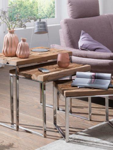 3 set de table gigogne design PRIYA table d'appoint Table 3 pièces en bois massif ; Table basse industrielle moderne rectangulaire en bois avec pieds en métal ; Table basse mezzanine ; Anstellische avec cadre en métal 1