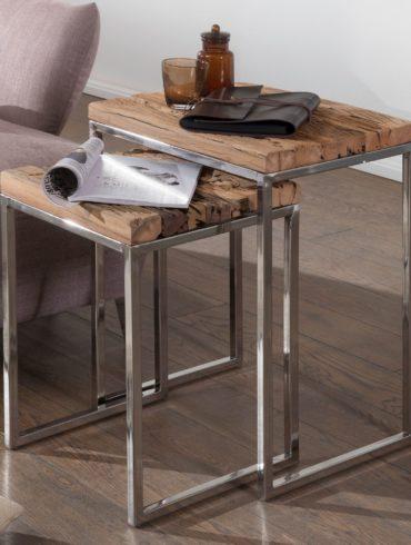 DE 2 tables gigognes design PRIYA table d'appoint table en bois massif 2 parties table basse carrée moderne table en bois avec pieds en métal ; Table basse mezzanine ; Anstellische avec cadre en métal 1