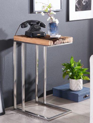 table d'appoint PRIYA table en bois massif avec structure en métal, 31 x 72 x 46 cm ; Table basse industrielle design angulaire en bois moderne avec pieds en métal ; Mezzanine table de salon moderne 1