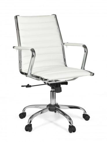chaise de bureau GENÈVE 2 Rembourrage cuir artificiel chaise de bureau blanc X-XL 110 kg Hauteur de président exécutif chaise pivotante réglable 1