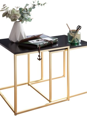 Table  CALA Table d'appoint noir / or MDF / en métal ; Table basse set de 2 tables ; Petite table de salon ; Table en métal avec plaque de bois ; Table de rangement moderne 1