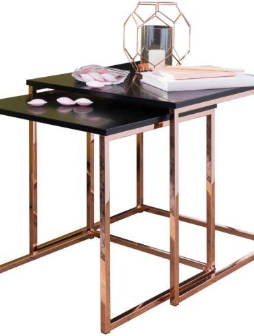 table  CALA table d'appoint noir / cuivre MDF / métal ; Table basse set de 2 tables ; Petite table de salon ; Table en métal avec plaque de bois ; Table de rangement moderne 1