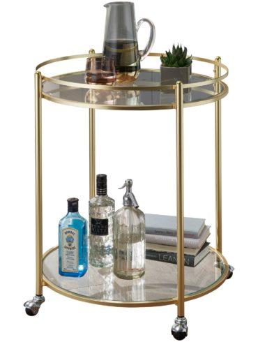 JAMES Table d'appoint Ø 57 cm en or ; Chariot à thé en métal avec roulettes ; Chariot de cuisine avec plaques de verre ; Bar Cart Environ 75 cm de haut ; Chariot de cuisine moderne ; chariot 1