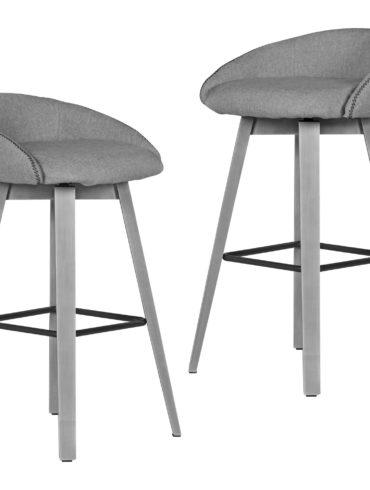 2 tabourets de bar PIUS Tabouret gris 46x88x51 cm avec dossier bas ; Tabouret de cuisine en tissu / en bois 100kg ; Tabouret de bar design tabouret rotatif ; Tabouret de bistrot design Bar ; Tabourets de bar hauts 1