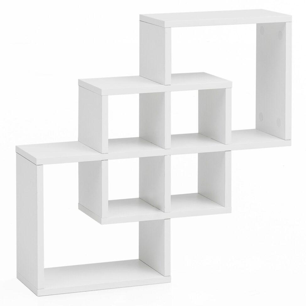 WL5.812 Etagère suspendue en bois blanche de 54 x 54 x 16 cm Moderne ; Panneau mural design flottant ; Étagère en bois pour le mur ; Bibliothèque Slim ; Cube suspendu d'office ouvert de décor