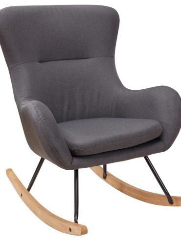 Fauteuil à bascule ROSIE Gris Design Fauteuil relaxant 74 x 96 x 88 cm ; Tissu fauteuil / bois ; Fauteuil pivotant avec cadre ; Chaise relax rembourrée ; Chaise à bascule ; Rocking chair moderne ; Hochlehner 1