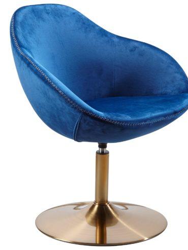 chaise longue SARIN chaise en velours bleu / or 70x79x70 cm ; Fauteuil club rembourré avec accoudoirs ; Chaise pivotante Cocktailsessel Lounge ; Chaise de bar Chaise visiteur ; Fauteuil avec revêtement en tissu 1