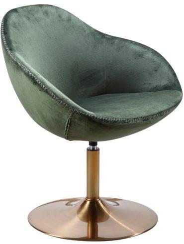 chaise longue SARIN chaise en velours vert / or 70x79x70 cm ; Fauteuil club rembourré avec accoudoirs ; Chaise pivotante Cocktailsessel Lounge ; Chaise de bar Chaise visiteur ; Fauteuil avec revêtement en tissu 1