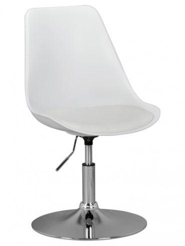 CORSE ; Chaise pivotante siège en cuir imitation en blanc ; Chaise pivotante réglable en hauteur ; Tabouret pivotant avec dossier 1