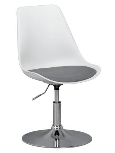 CORSE ; siège en tissu de la chaise pivotante en blanc / gris ; Chaise pivotante réglable en hauteur ; Tabouret pivotant avec dossier 1