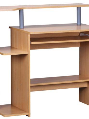 bureau d'ordinateur DENNIS hêtre 94 x 90 x 48 cm avec tablette à clavier ; Table d'ordinateur portable sans roulettes avec haut ; Table PC avec plateau d'imprimante économie d'espace ; Bureau pour les petits espa 1