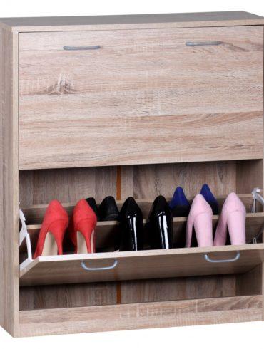chaussure Benne SARAH Sonoma chêne mat 2 compartiments 75 x 87 x 24 cm ; Meuble de chaussures en bois pour le travail ; commode de chaussures moderne avec rangement 1