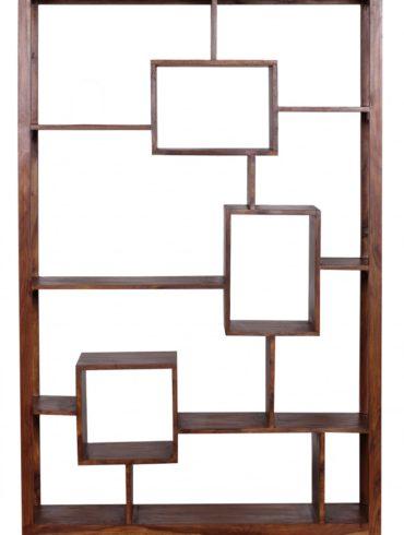 bibliothèque en bois massif Sheesham 115 x 180 cm Living-shelf plateaux étagères debout de style campagnard de conception 1