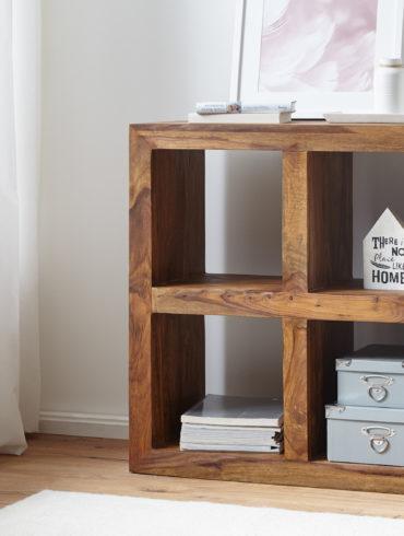 debout étagères solides Sheesham bois 82 cm 4 étages de style rustique de table design étagère de produits en bois naturel haute 1
