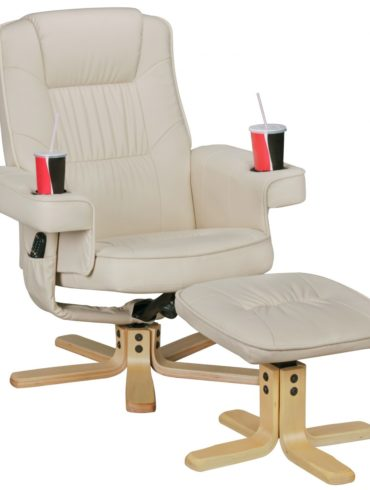 COMFORT DUO – Fernsehsessel similicuir beige ; chaise TV avec porte-gobelets ; tabouret rotatif Relaxsessel 1