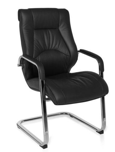 cantilever Chaise Rimini visiteur visiteur avec accoudoirs, chaise de conférence en cuir noir 1