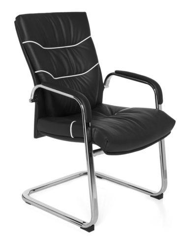 cantilever chaise FERROL réunion en cuir véritable président noir Rocking XXL 120kg chrome visiteurs Chaise Design 1