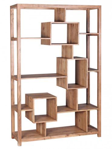bibliothèque en bois massif Acacia 115 x 180 cm Living-shelf plateaux étagères debout de style campagnard de conception 1