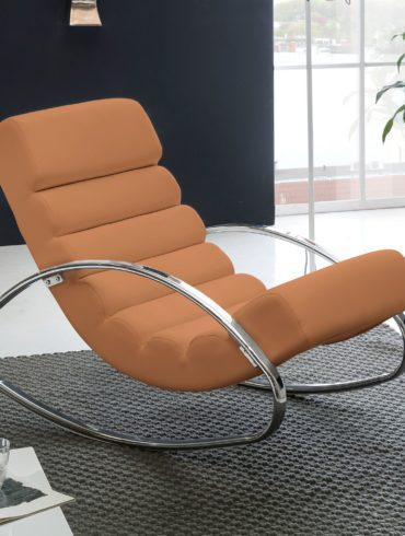 Relax fauteuil inclinable brun Relaxsessel design Rocking Chair Wippstuhl soleil moderne 1