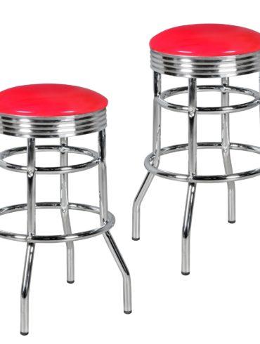 Ensemble de 2 tabourets de bar ELVIS American Diner Retro Design cuirette rouge métal ; Conception Barstool Retro 50s ; Bar hauteur du siège de selles 71 cm 1