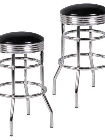Ensemble de 2 tabourets de bar ELVIS American Diner Retro Design cuirette noir métal ; Conception Barstool Retro 50s ; Bar hauteur du siège de selles 71 cm 1