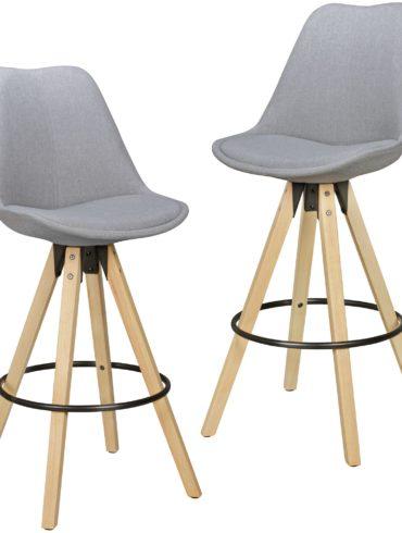 Ensemble de 2 tabourets de bar en bois de tissu design rétro noir avec dossier ; Chaise de bar design rétro scandinave 2 pièces ; Bar hauteur du siège de selles 72 cm 1