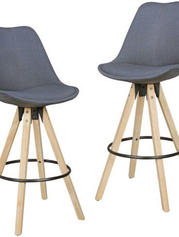 Ensemble de 2 tabourets de bar en bois clair tissu gris design rétro avec dossier ; Chaise de bar design rétro scandinave 2 pièces ; Bar hauteur du siège de selles 72 cm 1