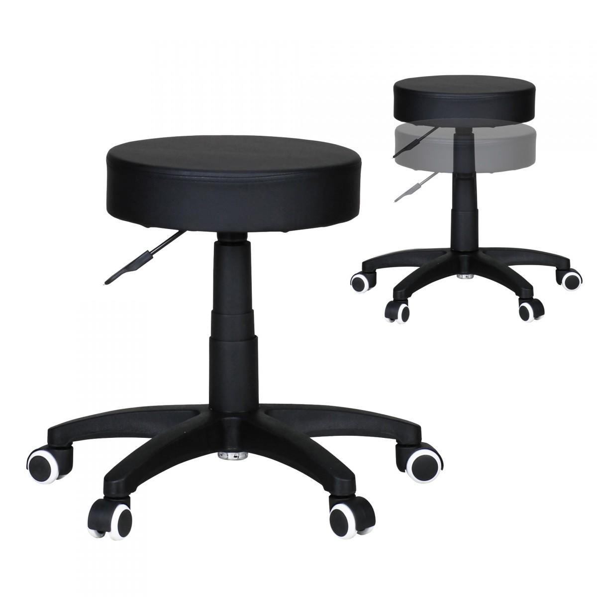 selles LEON S Tabouret design similicuir noir Tabouret à roulettes Tabouret sans dossier rembourré 1