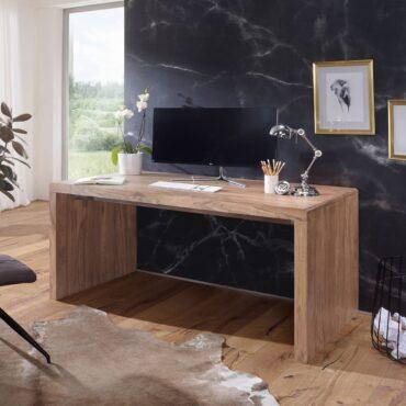 38408-WOHNLING-Schreibtisch-BOHA-Massiv-Holz-Akazie-Computertisch-140-cm-breit-Echtholz-Design-Ablage-Buero-Tisch-Landhaus-Stil-Echtholz-indisch-landhausstil-modern-palisander-Natu_1