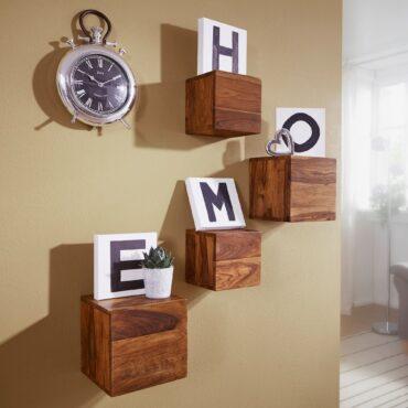 38536-WOHNLING-4er-Set-Wandregale-MUMBAI-Massivholz-Sheesham-Holzregal-Landhaus-Stil-Haengeregal-25cm-und-20cm-Echt-Holz-Wandboard-Wandregal-Haengeregal-Regal-Turmregal-Cube-Buecherr