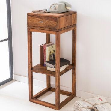 40308-WOHNLING-Beistelltisch-MUMBAI-Massivholz-Sheesham-Anstelltisch-Telefontisch-mit-Schublade-35-x-35-x-90-cm-Beistelltisch-Holz-quadratisch-Dekotisch-Rosenholz-Standregal-massiv