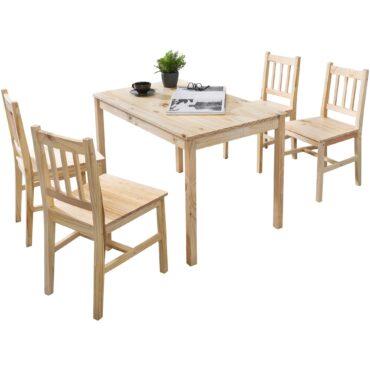 45748-WOHNLING-Esszimmer-Set-EMIL-5-teilig-Kiefer-Holz-Landhaus-Stil-108-x-73-x-65-cm-Natur-Essgruppe-1-Tisch-4-Stuehle-Tischgruppe-Esstischset-4-Personen-Esszimmergarnitur-massiv-T
