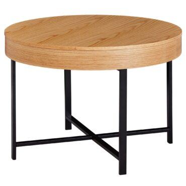 52193-WOHNLING-Couchtisch-Rund-WL5-978-Holz-Metall-Hellbraun-69x49x69cm-Tabletttisch-Beistelltisch-mit-Deckelplatte-Sofatisch-Retro-mit-Stauraum-Deko-Wohnzimmertisch-Natur-Lounge