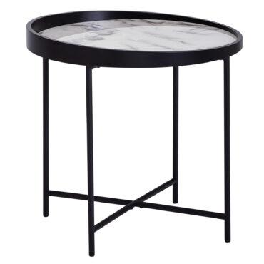52199-WOHNLING-Beistelltisch-Rund-WL5-981-Holz-Metall-46x45x46cm-Dekotisch-Weiss-Kleiner-Couchtisch-mit-Marmor-Optik-Sofatisch-Modern-Weisser-Loungetisch-Klein-Tablett-Salontisch