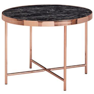 52207-Wohnling-Design-Beistelltisch-Rund-60-cm-in-Mamor-Optik-Schwarz-Wohnzimmertisch-mit-Metallgestell-in-Kupfer-Runder-Couchtisch-Wohnzimmer-Rose-gold-design-er-moderner-blumentis