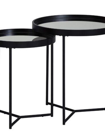 52227-WOHNLING-Beistelltisch-2er-Set-WL6-006-Satztisch-Metall-Schwarz-Verspiegelt-50-36-cm-Wohnzimmertisch-Rund-Sofatisch-Modern-Couchtisch-Holzrahmen-Design-Tisch-Set-WL6-006-WL6