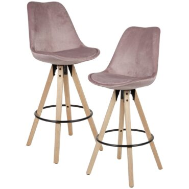 52374-WOHNLING-2er-Set-Barhocker-Rosa-Samt-Massivholz-Design-Barstuhl-Skandinavisch-2-Stueck-Tresenhocker-mit-Lehne-Sitzhoehe-77-cm-chair-rueckenlehne-kueche-theken-stuehle-fuer-_1