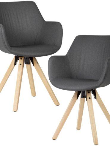 52386-WOHNLING-Gemuetliches-Esszimmerstuhl-2er-Set-mit-Armlehnen-in-Anthrazit-Stoff-Kuechenstuehle-Modern-mit-Holzbeinen-Schalenstuhl-Gepolstert-polster-stuhl-design-er-gepolsterte-r