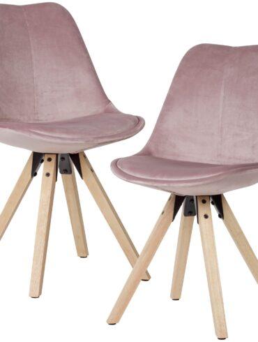 52402-WOHNLING-Esszimmerstuhl-2er-Set-Rosa-Samt-Kuechenstuhl-mit-Lehne-Stuhl-mit-Holzfuessen-Polsterstuhl-Maximalbelastbarkeit-110-kg-besucherstuhl-chair-schmink-tisch-wartezimmerst