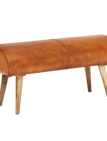 Banc en bois massif de manguier  et cuir de chèvre véritable