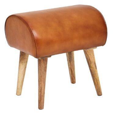 Banc petit modèle en bois massif de manguier et cuir de chèvre véritable