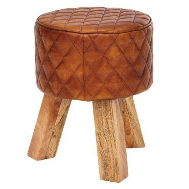 Tabouret rond en cuir véritable et bois de manguier