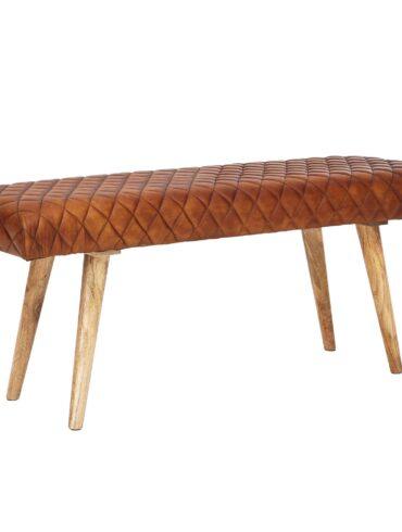 Banc cuir de chèvre véritable et  bois massif de manguier