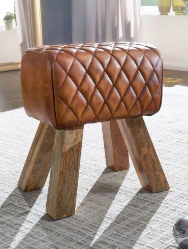 Tabouret rectangulaire en cuir de chèvre véritable et bois de manguier
