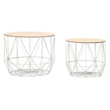 Duo de tables modernes en fer blanc avec plateaux amovibles