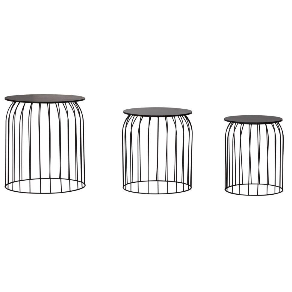 Trio de tables modernes noires avec plateaux amovibles